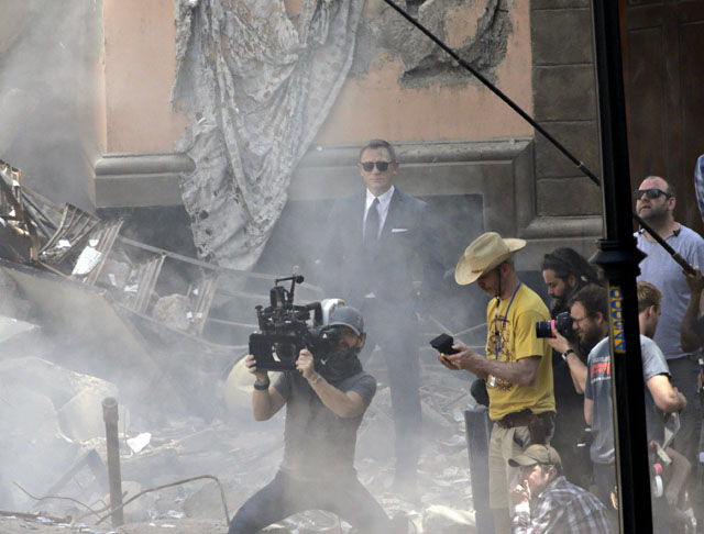 British actor Daniel Craig looks on while filming the James Bond 007 film 'Spectre', near in Mexico City's Zocalo main square
